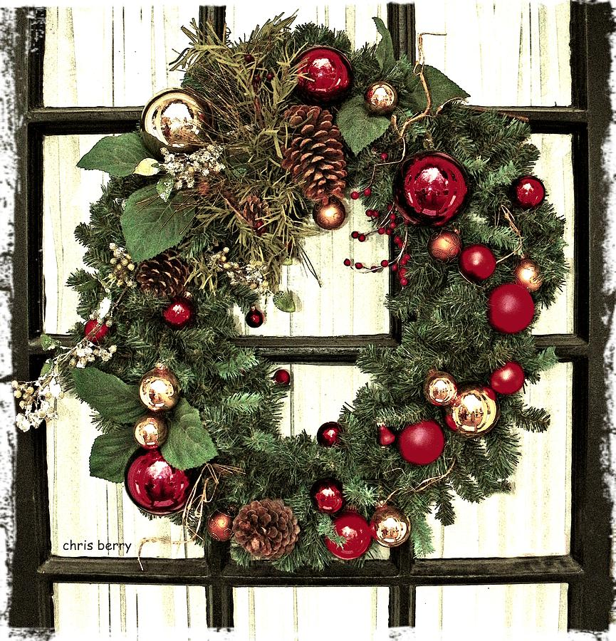 Christmas Wreath On Black Door Photograph By Chris Berry