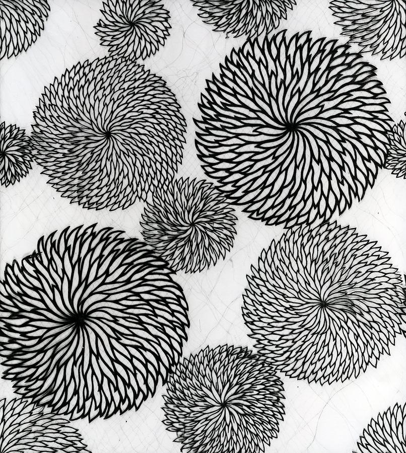 Chrysanthemum Tapestry - Textile - Chrysanthemums by Japanese School