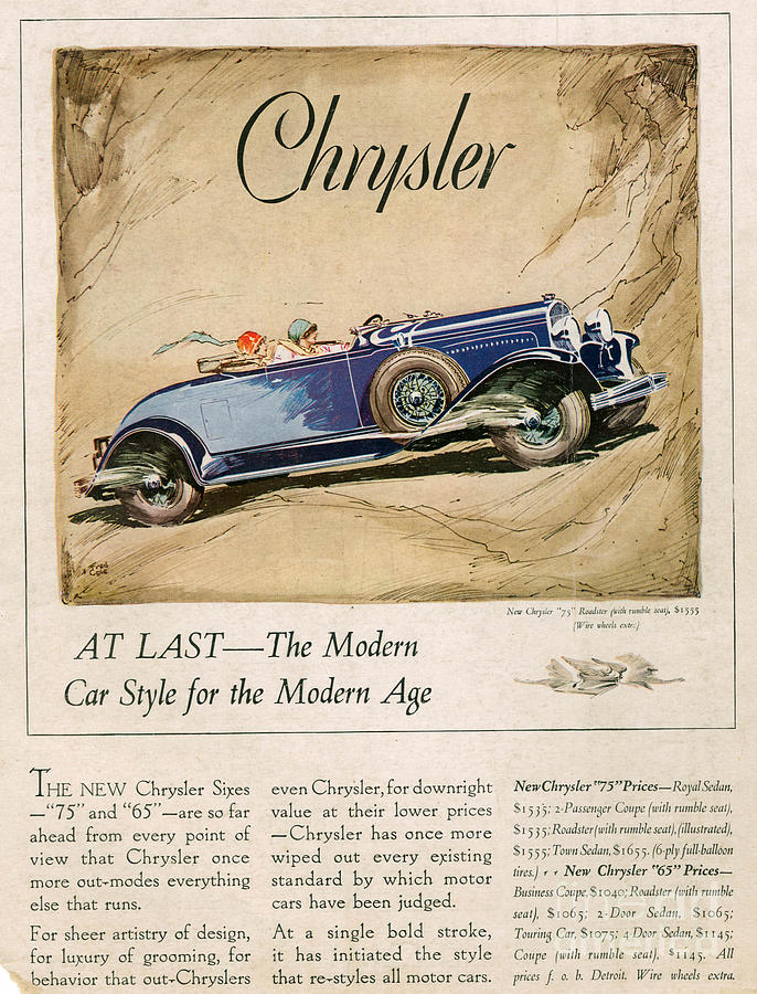 Advert Drawing - Chrysler 1928 1920s Usa Cc Cars by The Advertising Archives
