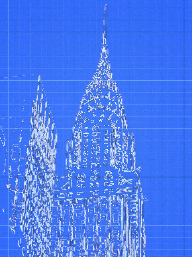 Chrysler building blueprint sketch digital art by dan sproul malvernweather Gallery