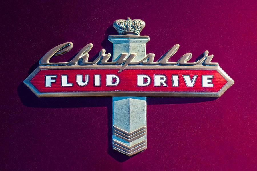 Chrysler Emblem Photograph - Chrysler Fluid Drive Emblem by Jill Reger