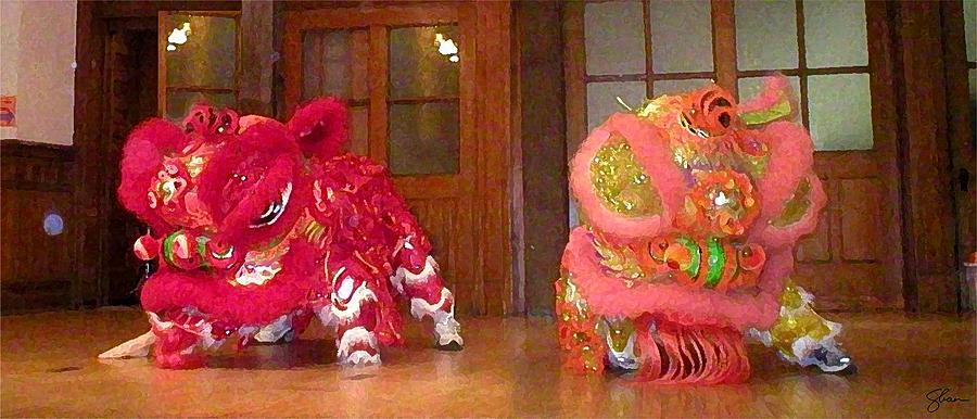 Dragon Digital Art - Chua Truc Lam Two Dragons - Dry Brush by Shawn Lyte