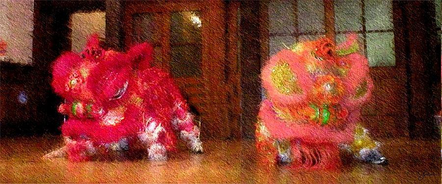 Dragon Digital Art - Chua Truc Lam Two Dragons - Fine Brush by Shawn Lyte