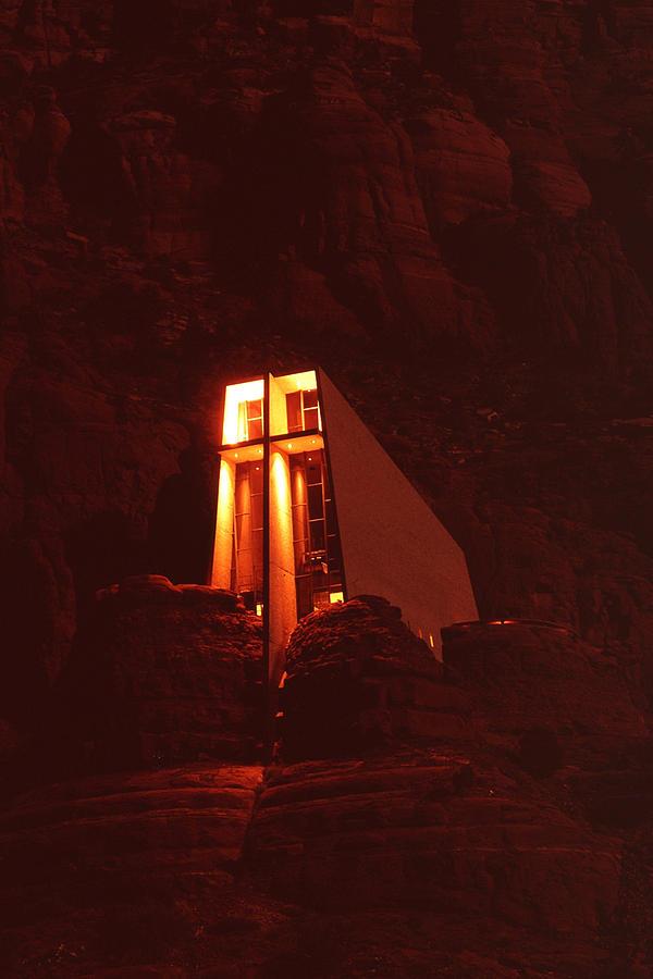 Arizona Photograph - Chapel At Night by Bob Bradshaw