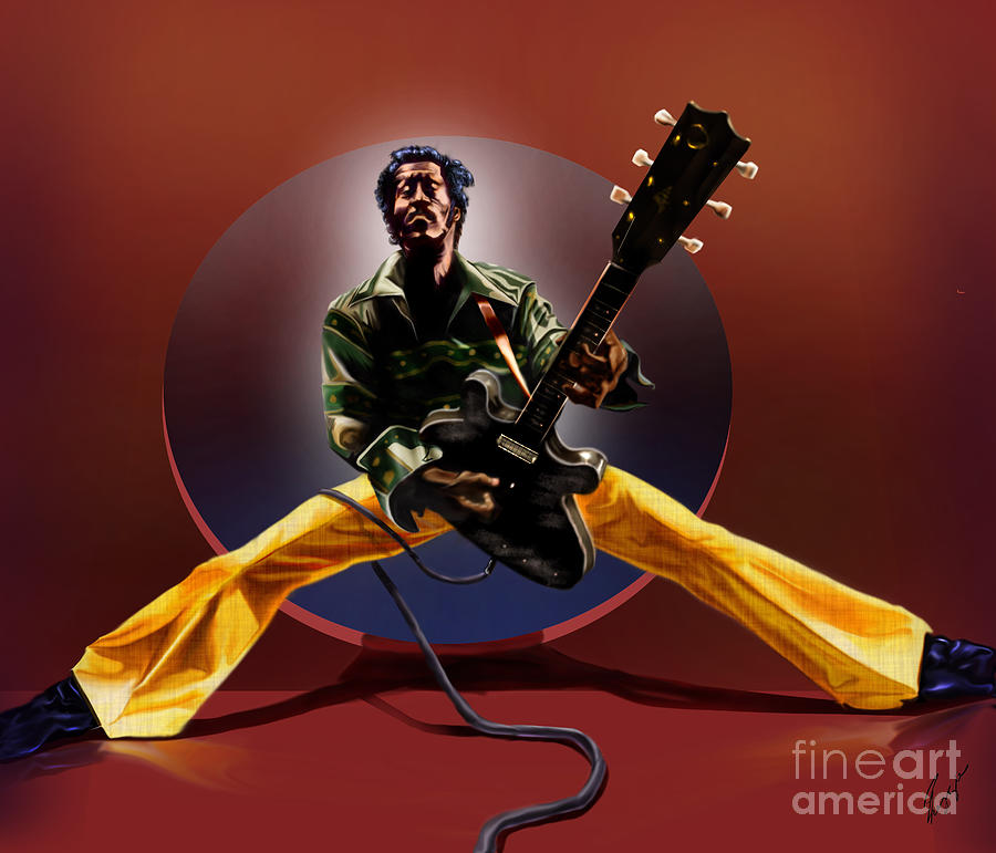 Chuck Berry Painting - Chuck Berry - This Is How We Do It by Reggie Duffie