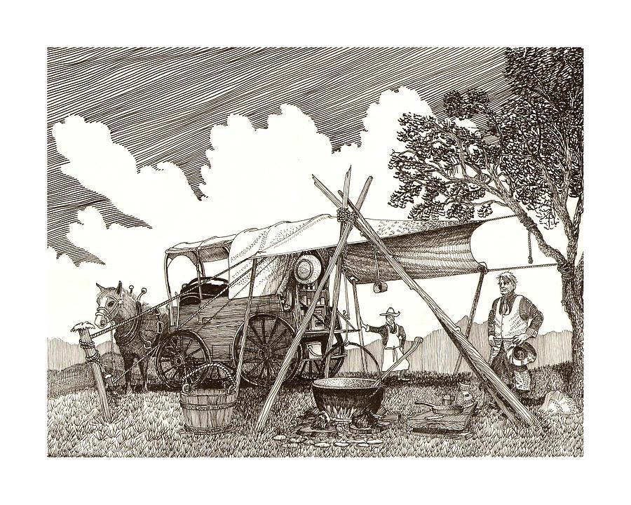 Pen & Ink By Jack Pumphrey Of Cattle Drive Chuckwagon Drawing - Chuckwagon Cattle Drive Breakfast by Jack Pumphrey