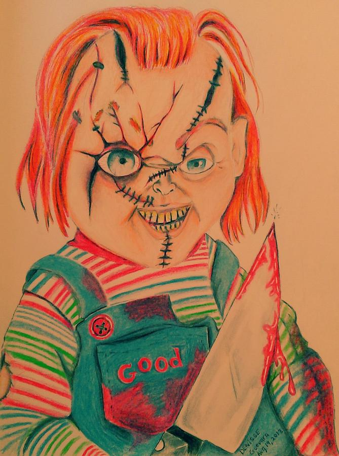 Chucky Drawing - Chuckys Back by Denisse Del Mar Guevara