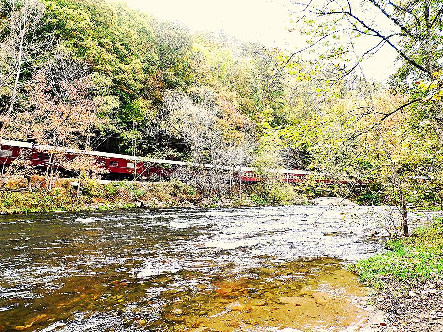 Train Rides Photograph - Chug Along The River by Allicat Photography