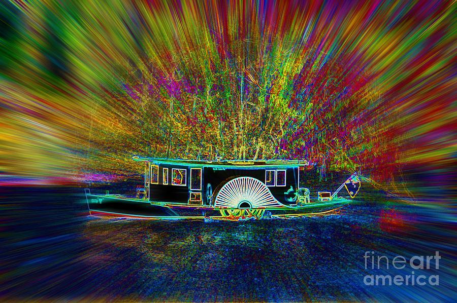 Paddle Steamer Digital Art - Chuggin Along by Lorles Lifestyles