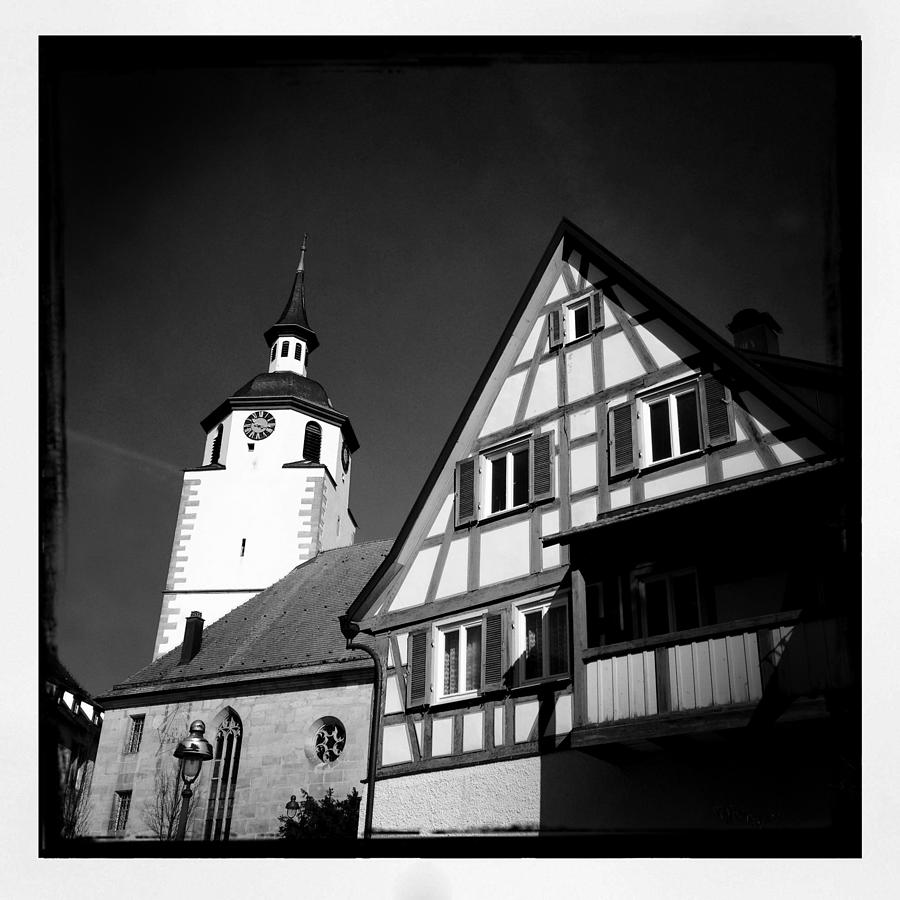 Church Photograph - Church And Half-timbered House In Lovely Old Town by Matthias Hauser