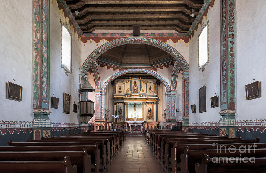 Mission Photograph - Church At Mission San Luis Rey by Sandra Bronstein