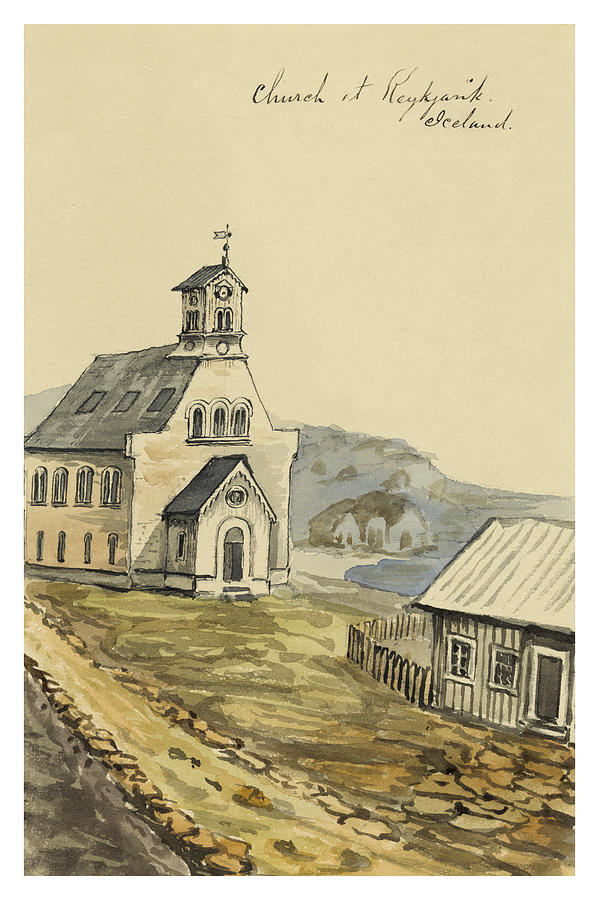 Faroese Painting - Church At Rejkjavik Iceland 1862 by Aged Pixel