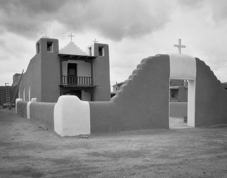 Black And White Photograph - Church At Taos Pueblo by David and Carol Kelly