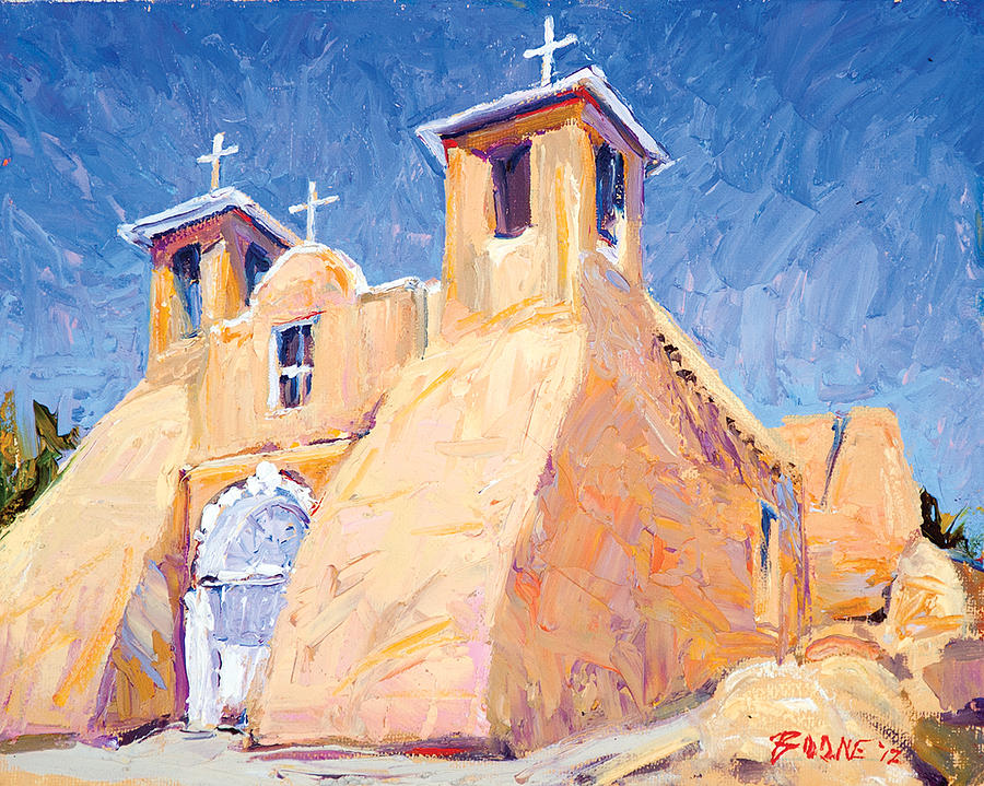 Taos Painting - Church At Taos by Steven Boone