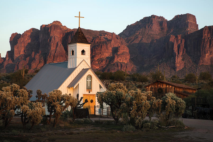 Church at the Superstition Mountains Arizona by Dave Dilli