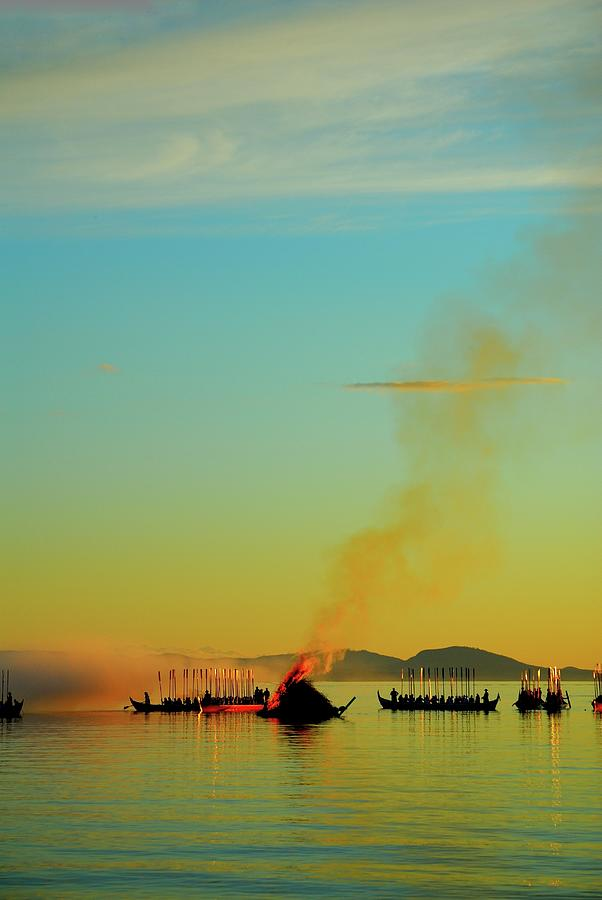 Fire Photograph - Church Boats On The Lake Siljan by Anders Ludvigson