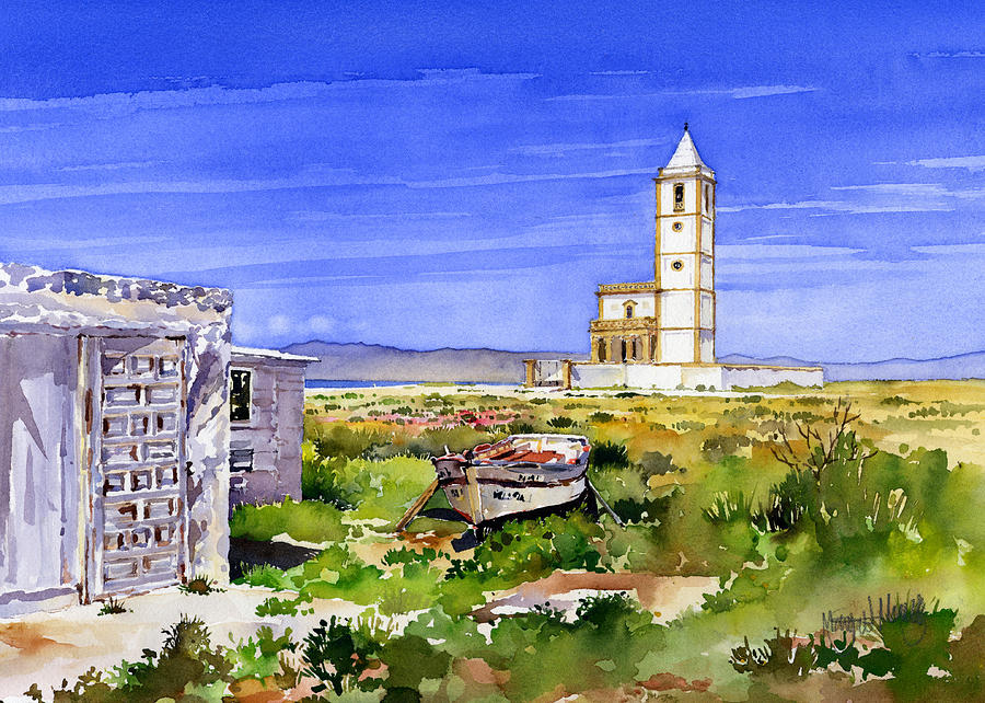 Watercolour Painting - Church By The Salt Flats by Margaret Merry