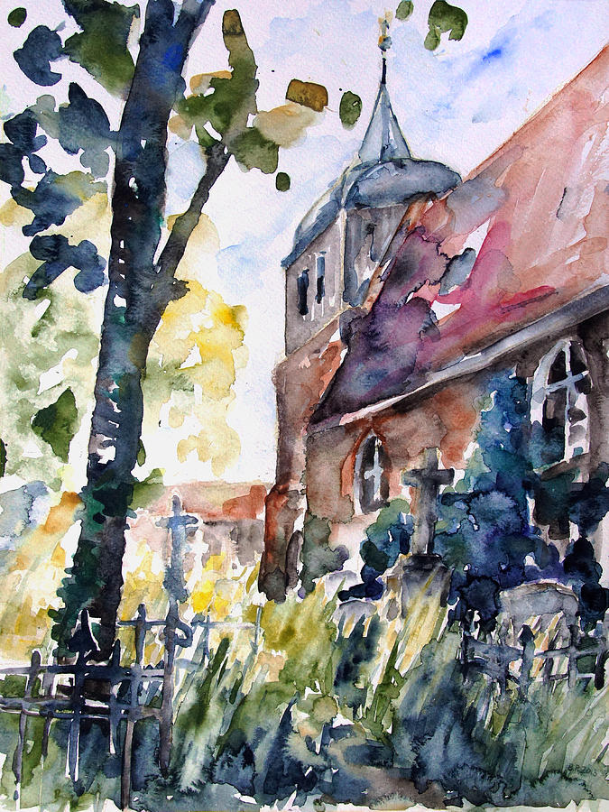 Summer Painting - Church Cemetery In Buchholz by Barbara Pommerenke