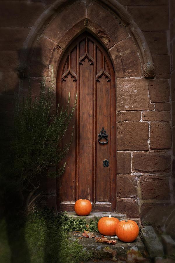Church Photograph - Church Door At Halloween by Amanda Elwell
