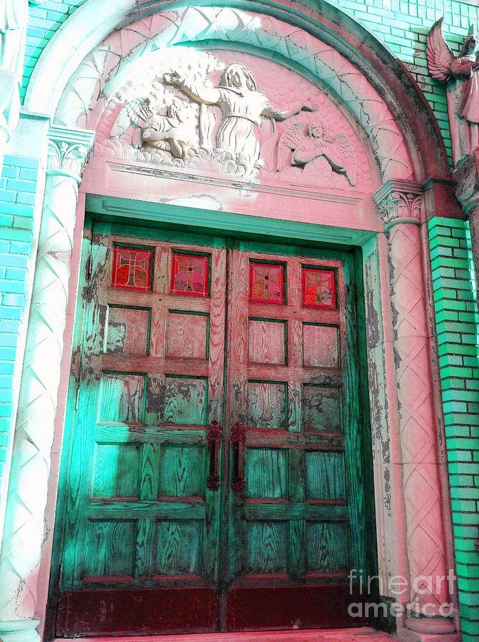 Turquoise Photograph - Church Door by Becky Lupe