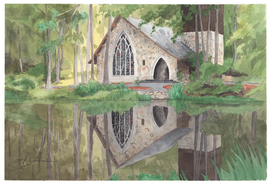 Church In The Woods Watercolor Portrait Drawing by Mike Theuer