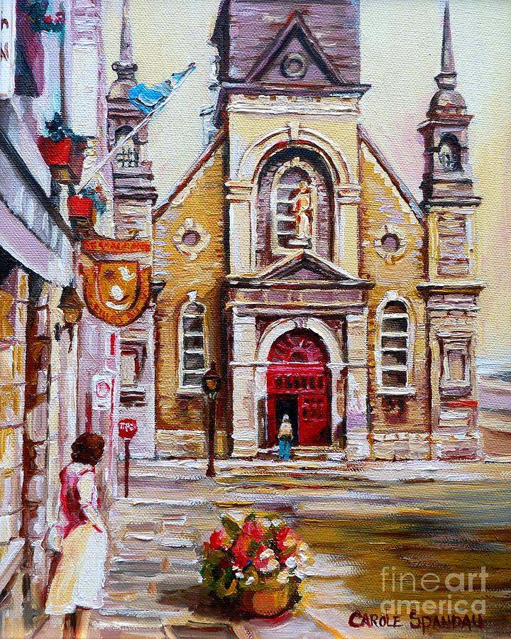 Montreal Churches Painting - Church On Sunday by Carole Spandau