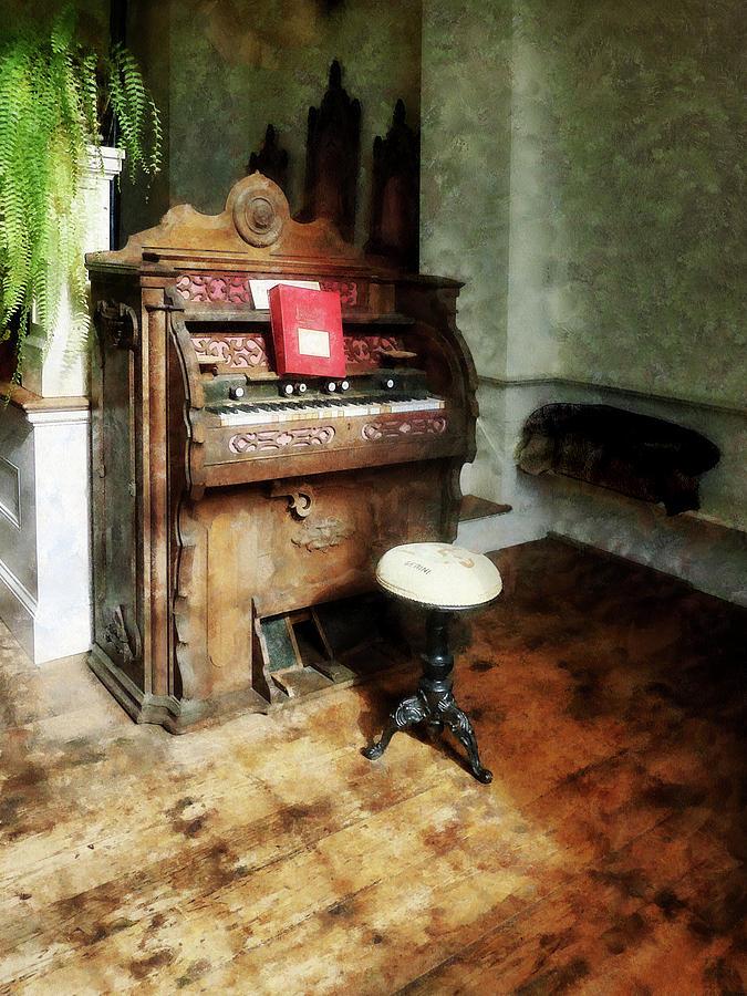 Organ Photograph - Church Organ With Swivel Stool by Susan Savad