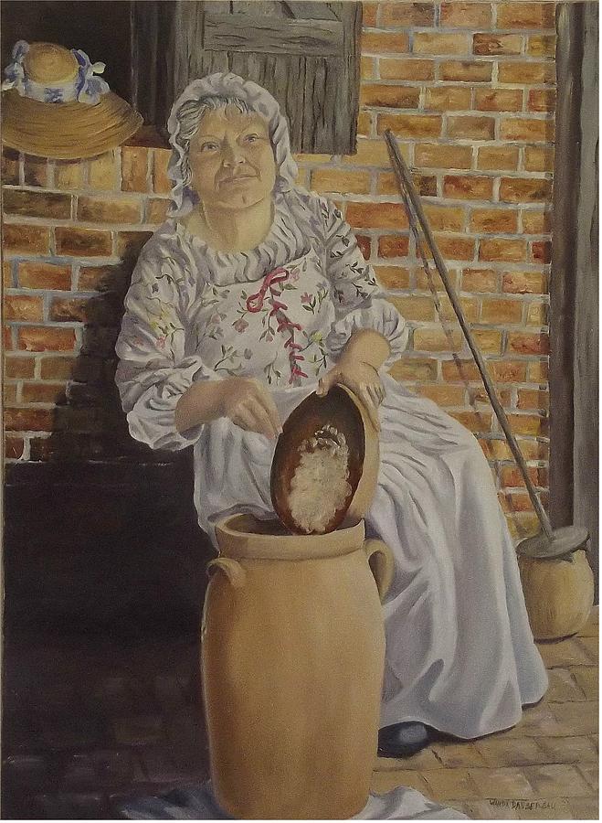 Historic Painting - Churning Butter by Wanda Dansereau