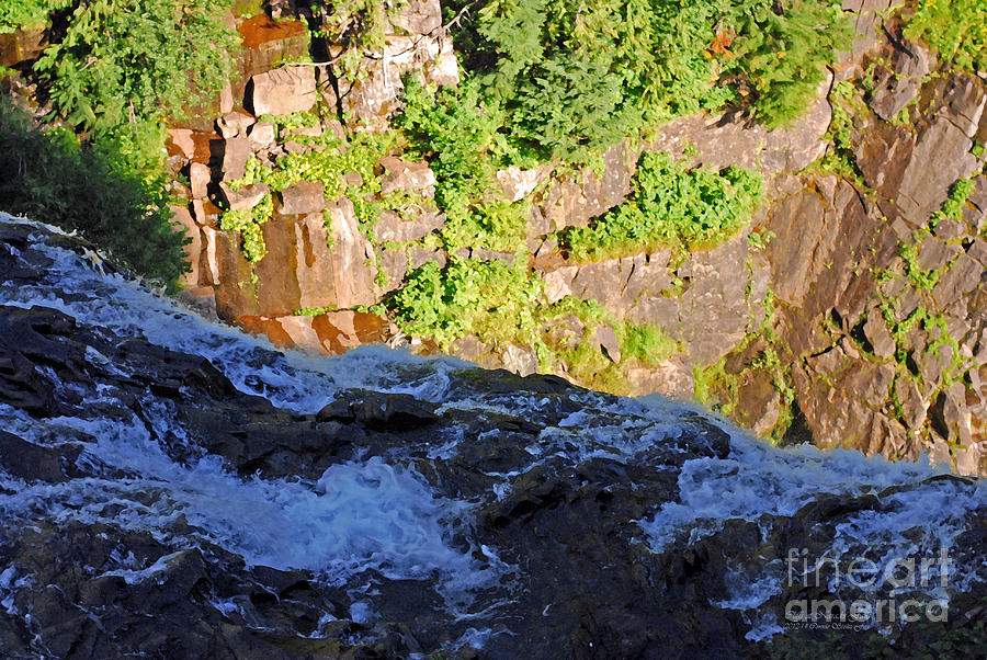 Flowing Water Photograph - Churning Waters. Cliffs At Narada Falls by Connie Fox