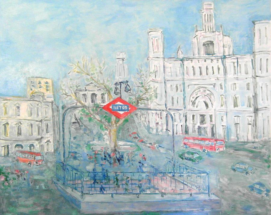Station Painting - Cibeles Square by Guillermo Serrano de Entrambasaguas