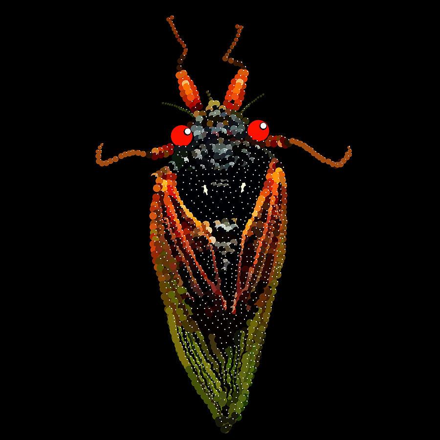 Cicada Digital Art - Cicada In Black by R  Allen Swezey