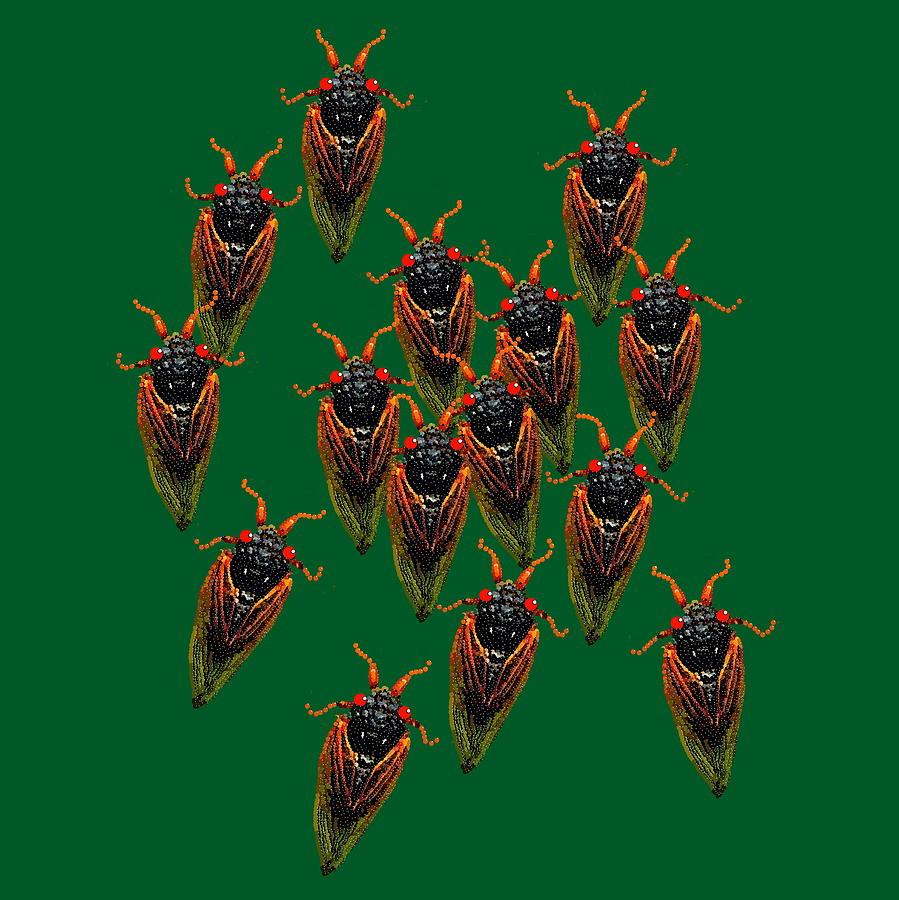 Cicadas In Green Digital Art by R  Allen Swezey