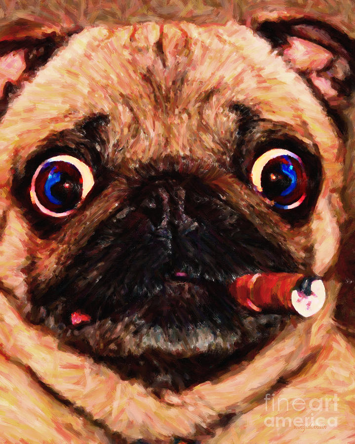 Animal Photograph - Cigar Puffing Pug - Painterly by Wingsdomain Art and Photography