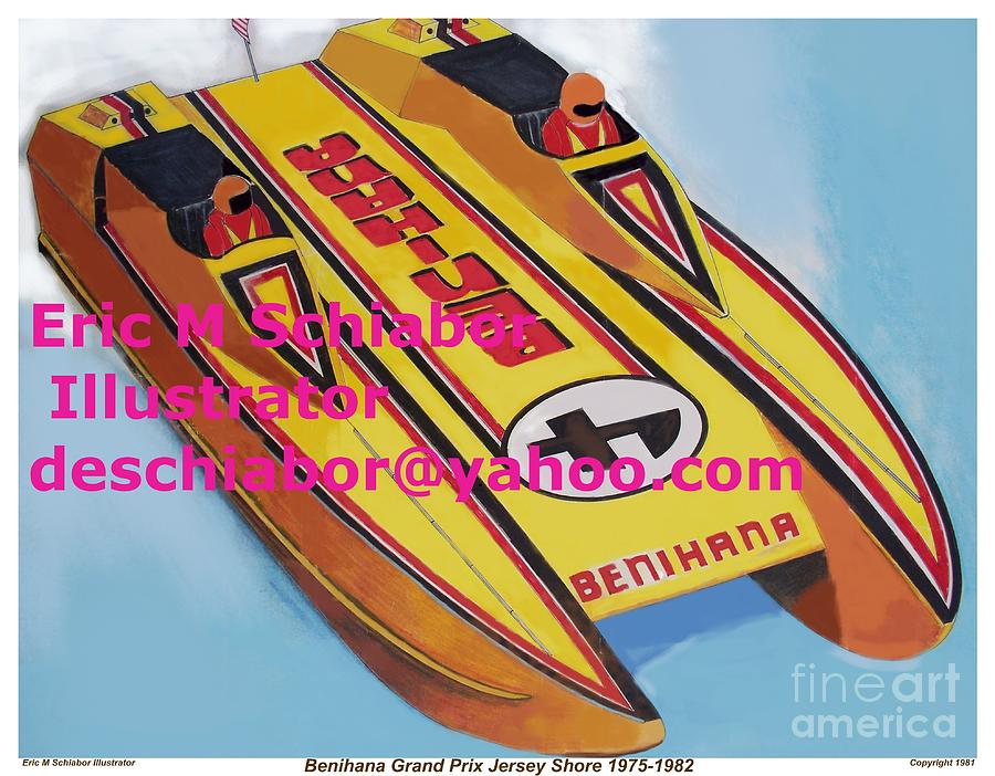 Power Boat Painting - Cigarett Power Boat Illustration by Eric  Schiabor