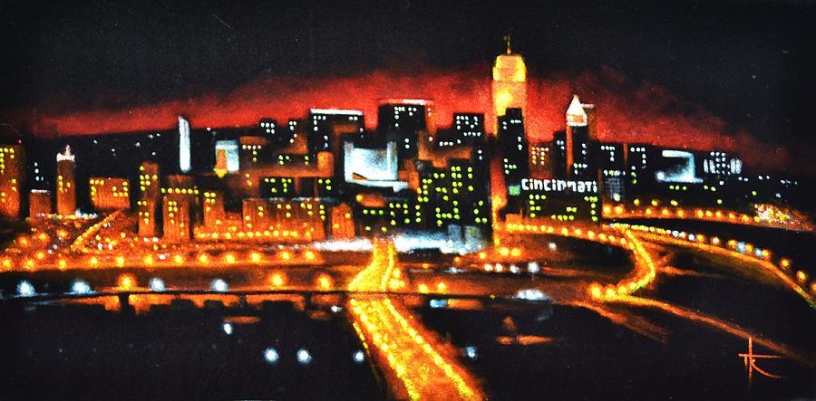 Skyline Painting - Cincinati Skyline by Thomas Kolendra