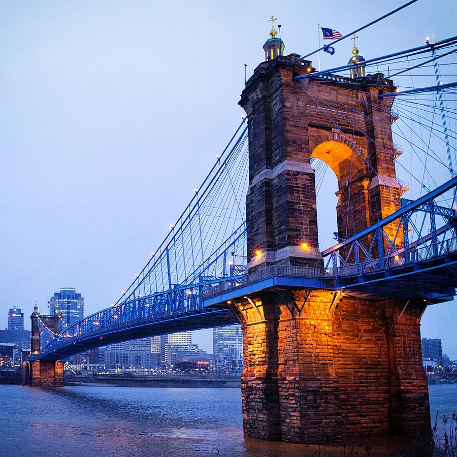 Cincinnati And Robeling Suspension Bridge At Twilight Photograph