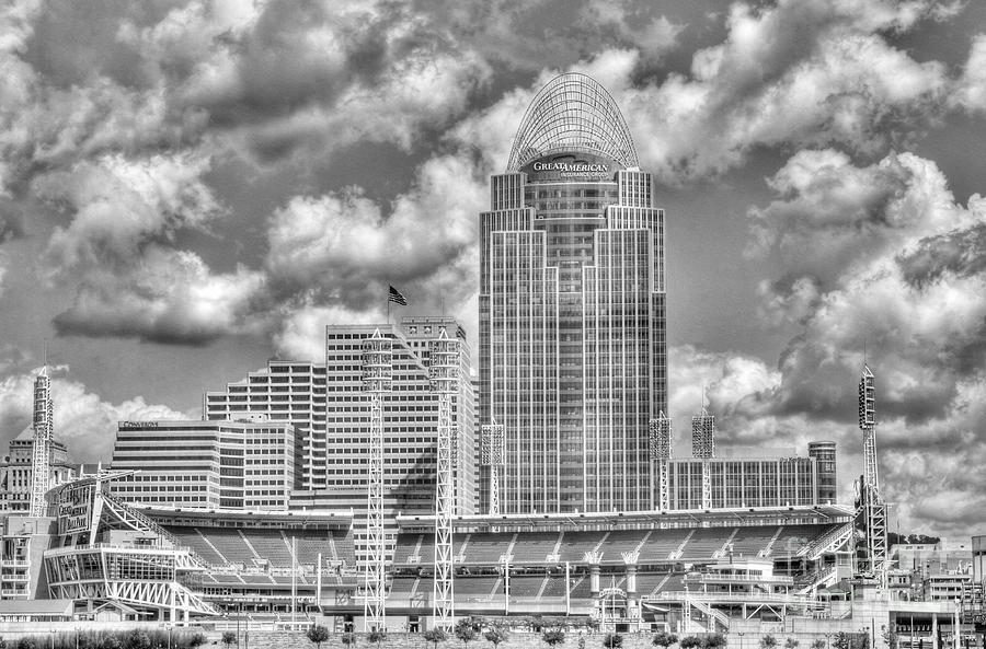 Cincinnati Photograph - Cincinnati Ballpark Clouds Bw by Mel Steinhauer
