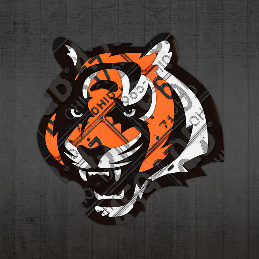 cincinnati bengals football team retro logo ohio license plate art