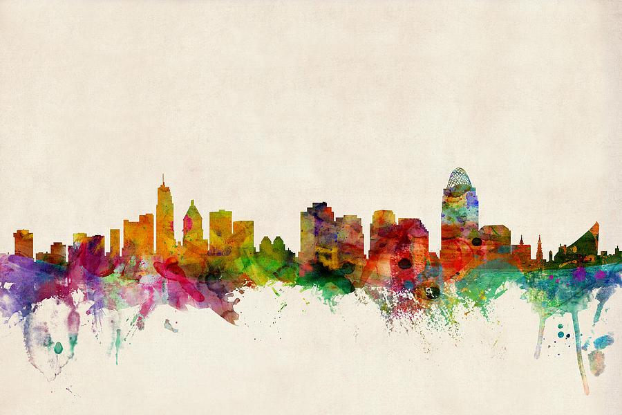 Watercolour Digital Art - Cincinnati Ohio Skyline by Michael Tompsett