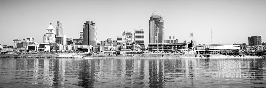 Cincinnati Panorama Black And White Picture Photograph