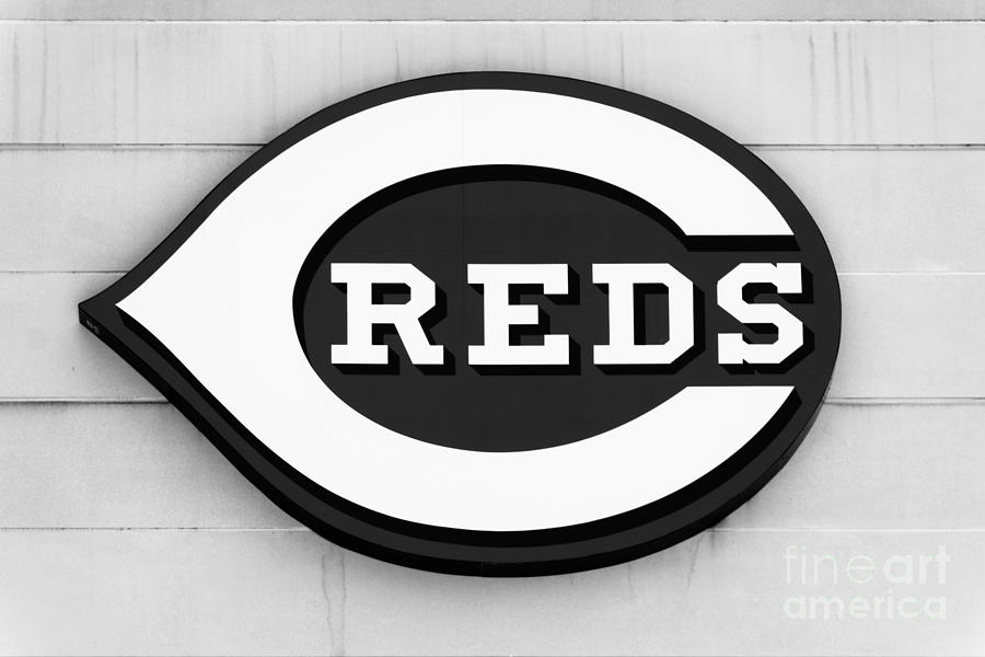 America Photograph - Cincinnati Reds Sign Black And White Picture by Paul Velgos