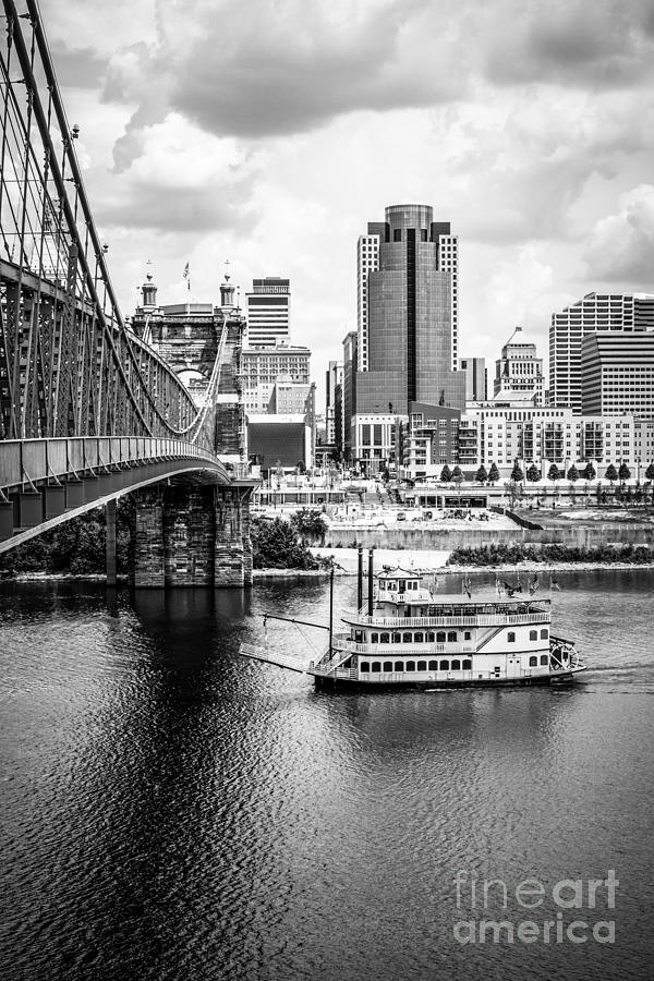 2012 Photograph - Cincinnati Riverfront Black And White Picture by Paul Velgos