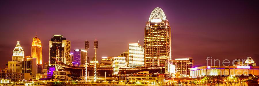 Cincinnati Skyline At Night Panoramic Picture Photograph