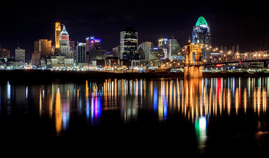 Cincinnati Skyline in Christmas colors by Keith Allen