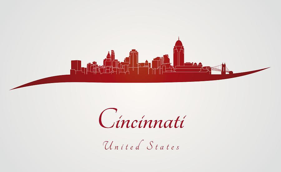 Cincinnati Skyline In Red Digital Art