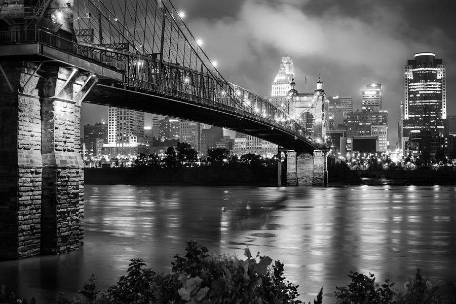 America Photograph - Cincinnati Skyline - John Roebling Bridge And Ohio River by Gregory Ballos