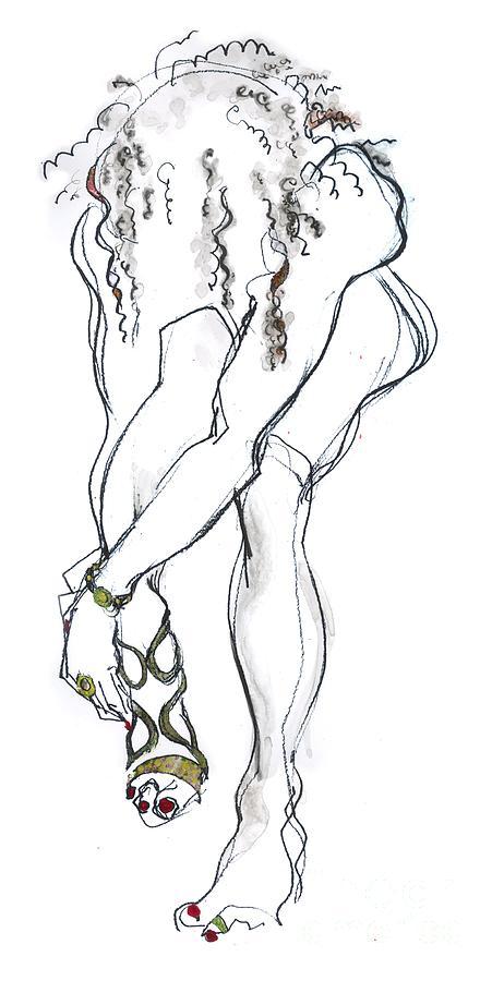 Naked Female Drawing - Cinderella - nude female by Carolyn Weltman