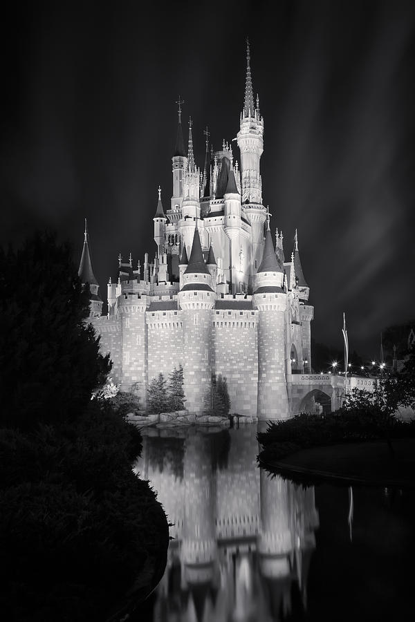 3scape photograph cinderellas castle reflection black and white by adam romanowicz