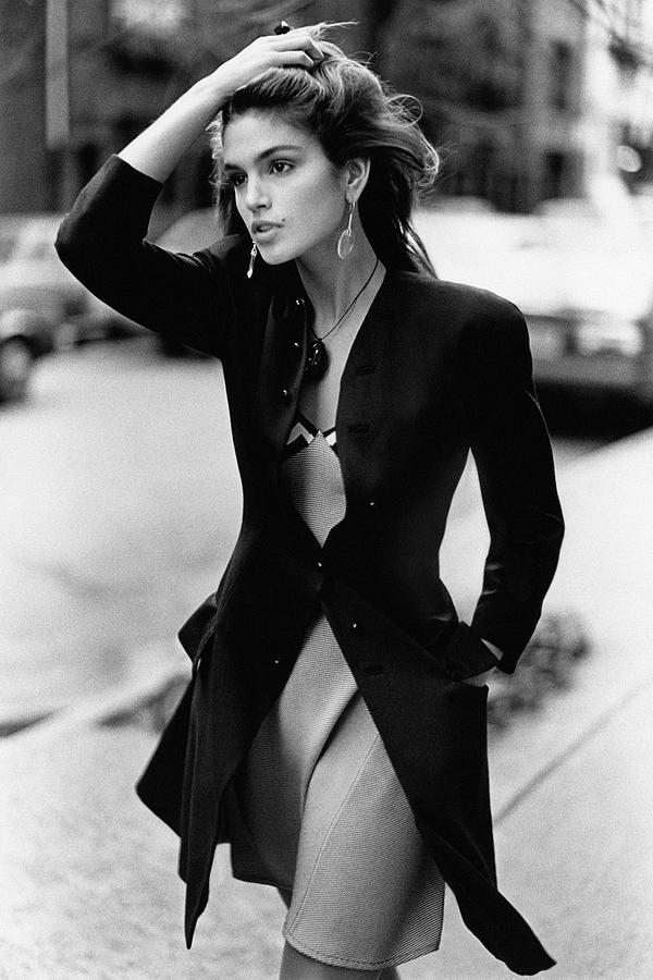 Cindy Crawford Wearing A Wool Coat Over A Slip Photograph by Arthur Elgort