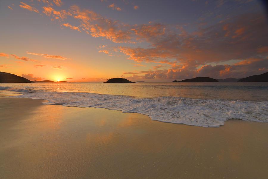 Sunset Photograph - Cinnamon Bay Sunset Reflections by Stephen  Vecchiotti